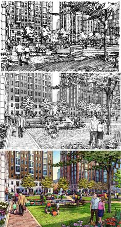 Architectural illustration by Bruce Bondy, Bondy Studio, Northbrook, IL Architecture Graphics, Architecture Drawings, Landscape Architecture, Landscape Drawings, Abstract Drawings, Perspective Sketch, Presentation Backgrounds, Plan Sketch, House Drawing