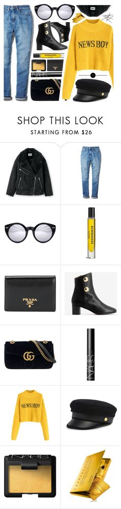 """""""News Boy"""" by smartbuyglasses-uk ❤ liked on Polyvore featuring Calvin Klein, Spitfire, Veda, Prada, Chloé, Gucci, NARS Cosmetics, Henri Bendel, Chantecaille and yellow"""