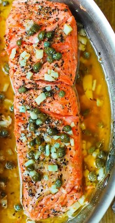 Steelhead Trout (or Salmon) with Caper-Garlic Lemon Butter Sauce - healthy, low-carb, gluten free dinner rich in lean protein and fatty acids. Sub butter for ghee (gluten free recipe) Lemon Recipes, Fish Recipes, Seafood Recipes, Cooking Recipes, Dinner Recipes, Fish Dinner, Seafood Dinner, Fish And Seafood, Snacks
