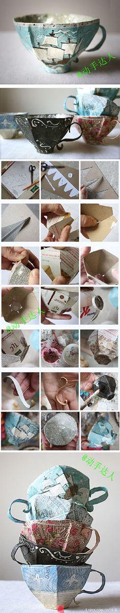 how to make a paper mache tea cup