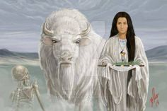 White Buffalo calf Woman blows them away.jpg Relatives, Daily they die, when they come to close to my eyes, those whores of the devil and young men got only sin. White Buffalo Calf Woman blows them away like dust again. Native American Prayers, Native American Wisdom, Native American Women, American Indian Art, Native American History, Native American Indians, Buffalo Animal, Buffalo Art, Native American Paintings