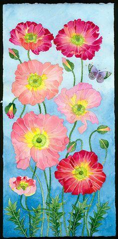 Gabby Malpas original watercolour painting: 'Dahlias'. Watercolour and pencil on Arches paper. By NZ artist Gabby Malpas