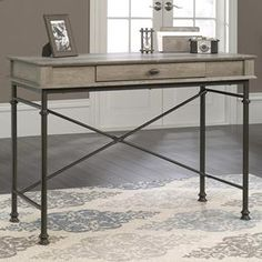 Canal Street Console Desk in Northern Oak and Black | Nebraska Furniture Mart
