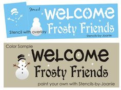 Primitive Country Stencils | Primitive Country STENCIL Frosty Friends Welcome Winter Snowman ...