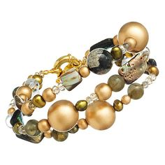 Triple Strand Paua Shell Bracelet by GemVault on Etsy
