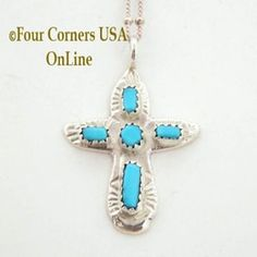 Turquoise Sterling Cross on 18 Inch Chain Zuni Artisan Cecilia Iule Four Corners USA OnLine Native American Jewelry No 4 NACR-091378