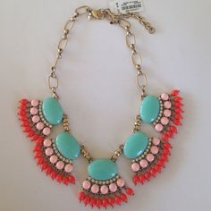 J.Crew Turquoise, Pink & Orange Statement Necklace Brand new with tags!  Fun necklace for the summer!  Gold toned with approximately 2 inch extender.  J. Crew dust bag included. J. Crew Jewelry Necklaces