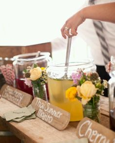 """""""Self serve cocktail station"""" Clever way to incorporate cocktails into your big day without going the route of a Sluch Puppy machine"""