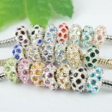 Wholesale 20PC Mixed Multicolor Crystal Silver Plated 10 x 5mm Spacer Charm Wheel Beads Fit Pandora European Bracelet Free Ship(China (Mainland))