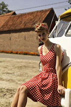 Red lipstick. Polka dot dress. VW bus. Need I say more?