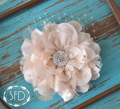 Neutral Chiffon and Lace Flower Hair Clip  by SweetFaithDesigns, $14.50