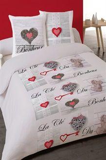 Parure de couette en coton 52 fils/cm² Clé du bonheur - Gris Decoration, Duvet Cover Sets, Comforters, Bed Pillows, Pillow Cases, Textiles, Blanket, Furniture, Bedding
