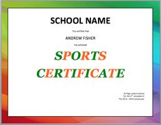 Sports certificate templates are formal certificates which satisfy the requirements of coach, fitness leader, administrators and managers of any sports team. These certificates assist the students with a strong foundation Certificate Format, Certificate Design, Certificate Templates, School Certificate, Award Template, Resume Template Free, Personal Reference Letter Template, Jackson School, Business Format