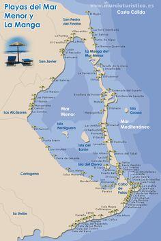 "Murcia (autonomous region). Costa Cálida, aka La Manga or La Manga del Mar Menor (meaning ""The Sandbar of the Minor Sea"") is a seaside spit in the Region of Murcia. It is 22 km long and 100 metres wide (average), separating the Mediterranean Sea from the Mar Menor (Minor Sea) lagoon, from Cabo de Palos to the Punta del Mojón. Mexico Travel, Travel Europe, Spanish House, Spain And Portugal, Mediterranean Sea, Alicante, Cabo, Valencia, Seaside"