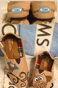 Owl painted Toms- available in my Etsy shop :)