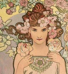"tierradentro: """"Les Fleurs - The Rose"" (detail), 1898, Alphonse Mucha. (original here) """