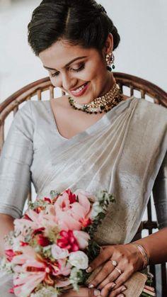 Kerala Engagement Dress For Female Wedding - Jewelry Holics Engagement Dress For Female, Kerala Engagement Dress, Engagement Saree, Engagement Dresses, Christian Wedding Dress, Christian Bridal Saree, Christian Bride, Christian Weddings, White Saree Wedding