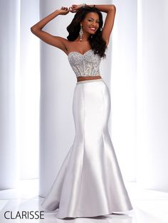 Clarisse 2016 Couture Two Piece Prom Dress Style 4706 in Gray/Silver. Gorgeous lace, strapless beaded bodice and stretch taffeta trumpet skirt with beaded waist band. Available in sizes 00-14. Find yours today @ http://www.clarisse.us/locator