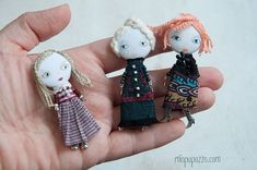 Little Girl and her Tiny House Art Doll Brooch gift by miopupazzo