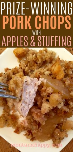 oven baked pork chops Prize-Winning Pork Chops with Apples and Stuffing - easy dinner recipe that tastes delicious. Cinnamon apples and savory stuffing combined with pork chops. Easy Pork Chop Recipes, Pork Recipes, Cooking Recipes, Wing Recipes, Bread Recipes, Apple Pork Chops, Baked Pork Chops, Apple Stuffed Pork Chops, Health
