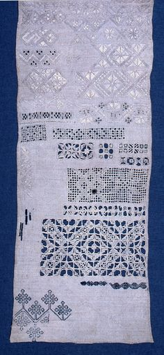 Cross borders of geometrical patterns.    This sampler is medium: silk and linen embroidery on linen technique: double running, long-armed cross, eyelet, satin, buttonhole, marking cross, cross, herringbone and back stitches, withdrawn element work with needle lace fillings. Its dimensions are: 50.5 x 20 cm (19 7/8 x 7 7/8 in.).    This sampler is dated 17th century.