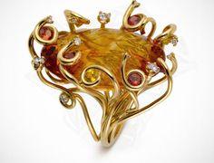"Jean-Christophe, ""Feu"" ring, yellow gold, citrine, sapphire, diamonds"