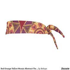 Red Orange Yellow #MosaicAbstract Tie Headband @bebopsplace