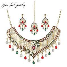 Luxury Gold Color Crystal Drop Jewelry Set Earrings Headwear Choker 33CM Mix Rhinestone Women Indian Statement bijouterie #Indian fashion