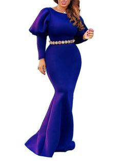 Royal Blue Draped Lantern Sleeve Mermaid Scuba Banquet Prom Party Maxi Dress #Chic443129_Sum | Sumchic Evening Dresses, Prom Dresses, Formal Dresses, Blue Drapes, Bridal Party Dresses, Dress Party, Latest African Fashion Dresses, Cheap Clothes Online, Prom Party