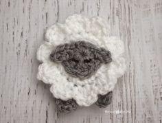 L is for Lamb: Crochet Lamb Applique - Repeat Crafter Me - free pattern