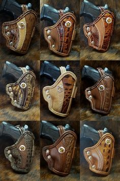 Old West looking, Leather holsters Leather Tooling Patterns, Leather Pattern, Leather Carving, Leather Art, Pistol Holster, Revolver, Custom Leather Holsters, Leather Workshop, Leather Projects