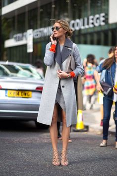 groutfits, grey outfits, monochromatic, all gray, gray outfits, olivia palermo, long vest, sleeveless jacket, grey and orange, orange accents