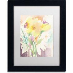 Trademark Fine Art Yellow Flower Blossoming Canvas Art by Sheila Golden, White Matte, Black Frame, Size: 11 x 14