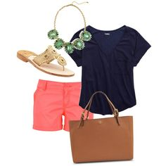 coral pink chino shorts, navy blue v-neck tee, embellish sandals, brown leather tote & turquoise statement necklace