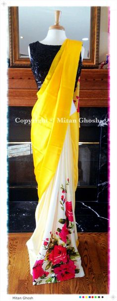 print placement for sari Indian Attire, Indian Ethnic Wear, Indian Style, Saris, Indian Dresses, Indian Outfits, Ethnic Outfits, Saree Dress, Dress Up