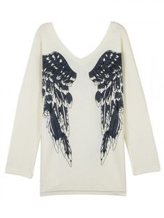 White Angel Wings Print V Neck Loose Knitted Jumper | Choies