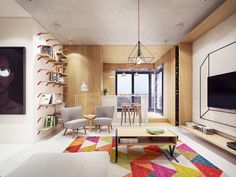 A cheerful approach in interior design to a small open plan apartment. Open Plan Apartment, Kids Room Design, Minimalist Interior, Cool Rooms, Living Room Inspiration, My Living Room, Apartment Design, Modern House Design, House Colors