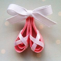 Pink Ballerina Slippers Ribbon Sculpture Hair Clip by leilei1202