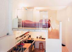 studio avec cuisine et petite chambre adulte superposée
