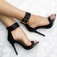 Shop Women's Black Gold size Heels at a discounted price at Poshmark. Description: Sexy Lace-Up Sandals Stiletto High-heeled Sandals Women Pumps Shoe. Pretty Shoes, Beautiful Shoes, Cute Shoes, Me Too Shoes, Gorgeous Heels, Beautiful Pictures, Dream Shoes, Crazy Shoes, Ankle Strap Heels
