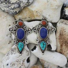 Tibetan earrings boho earrings oriental earrings coral