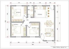 10 plano de casa 3 dormitorios planos pinterest for Casa moderna 80m2