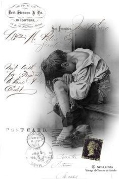 VINTAGE, EL GLAMOUR DE ANTAÑO: Niños-Blanco y negro/Postcards