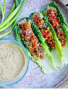 Lettuce Wraps with Quinoa, Lentils, Peppers, Red Onions & Hummus via Chef Ahki