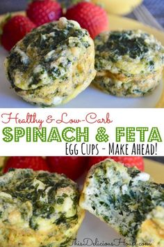 Recipes For Diabetics Healthy and low carb Spinach and Feta Egg Cups are the best make ahead on the go breakfast and snack you can make. Full of protein, this easy recipe is freezer friendly too! Healthy Protein Snacks, Diabetic Snacks, Healthy Snacks For Diabetics, Diabetic Recipes, Healthy Eating, Healthy Recipes, Healthy Brunch, Keto Snacks, High Protein