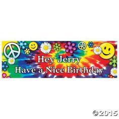 Personalized '60s Groovy Birthday Banner - Medium - Oriental Trading