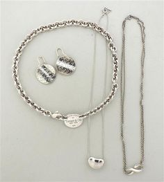 Tiffany & Co. Sterling Silver Earrings Necklace Lot of 4 Featured in our upcoming auction on October 20!
