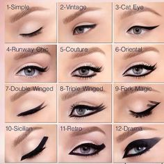 Eyeliner is a necessary piece of each girl's make-up bag. Sharp contact of a black or coloured liner brings eye-makeup on the entire new stage in simply 60 Eyeliner Hacks, Simple Eyeliner, Perfect Eyeliner, Best Eyeliner, How To Apply Eyeliner, Eyeliner Ideas, Eyeliner For Big Eyes, Perfect Makeup, Eyeliner Designs