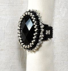 SOLD! - Black Obsidian stone set in a seed bead bezel and woven into a cocktail ring!