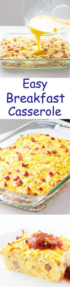 Easy Breakfast Casserole - Made in only 5 minutes! Shredded hash browns, cubed ham, shredded cheese, and eggs. Would be a great make ahead #breakfast or #brunch